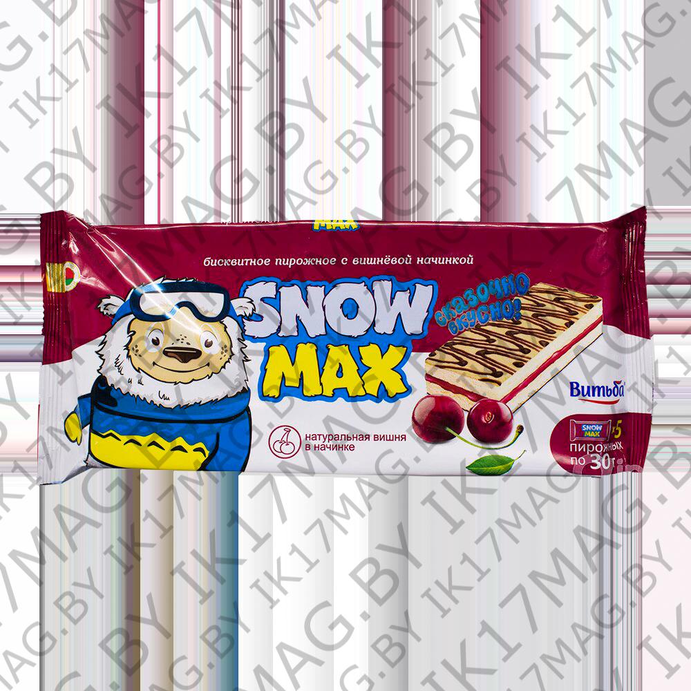 """Бисквитное пирожное """"Snow Max"""" с вишней 150г"""